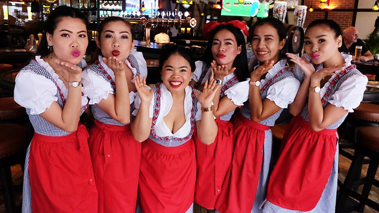 Cheerful staff at Old German Beerhouse